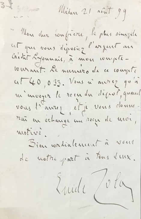 Emile ZOLA. Autograph letter.  - Auction RARE BOOKS, ATLASES, AUTOGRAPHS AND DRAWINGS  [..]