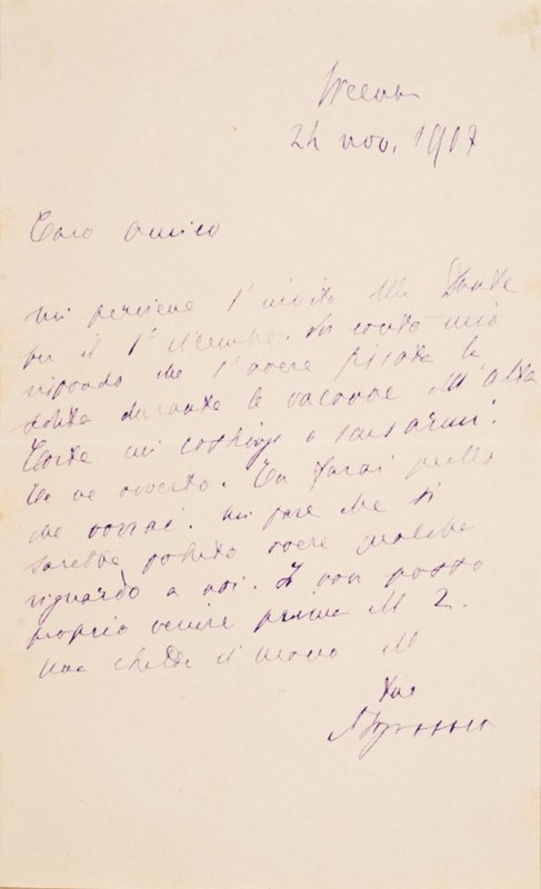 Autograph letter. FOGAZZARO.  - Auction FINE AND RARE BOOKS AND AUTOGRAPHS - Bado e Mart Auctions