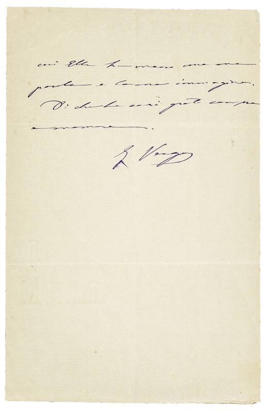 Autograph letter. VERGA.  - Auction RARE BOOKS, ATLASES, AUTOGRAPHS AND DRAWINGS  [..]