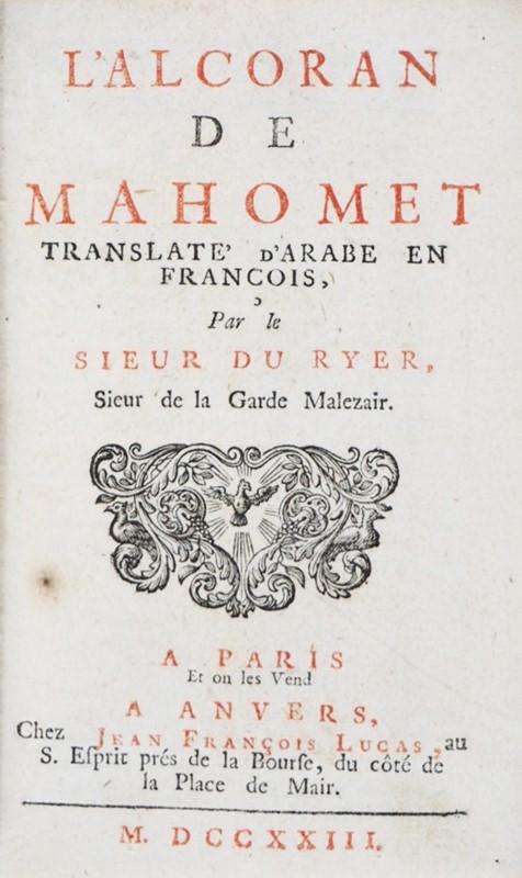 Koran. DU RYER. L'Alcoran de Mahomet