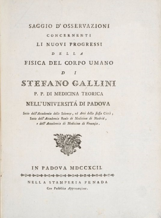 Physiology. GALLINI. Saggio di osservazioni concernenti...  - Auction FINE AND RARE BOOKS - Bado e Mart Auctions
