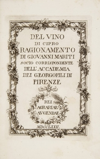 Cyprus. MARITI, Giovanni. Del vino di Cipro.