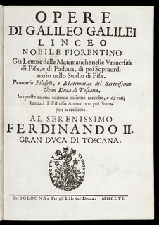 First edition of Galileo's works. GALILEI. Opere...